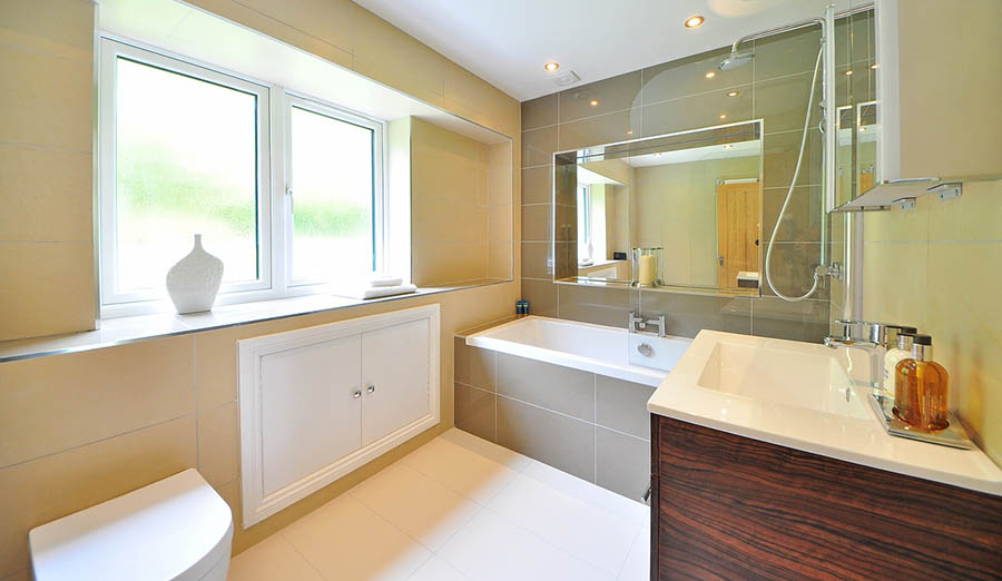 Bright bathroom newly renovated