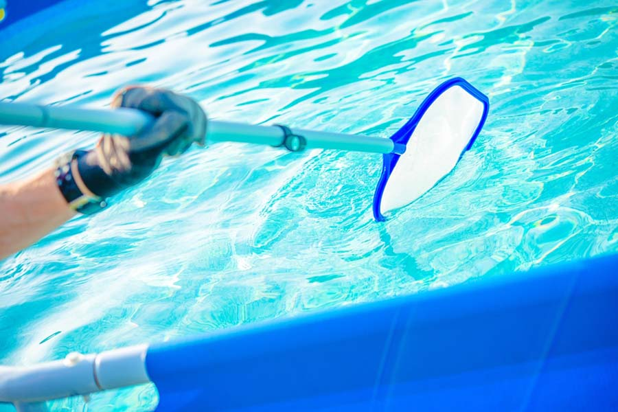 Person cleaning on-ground pool with a skimmer