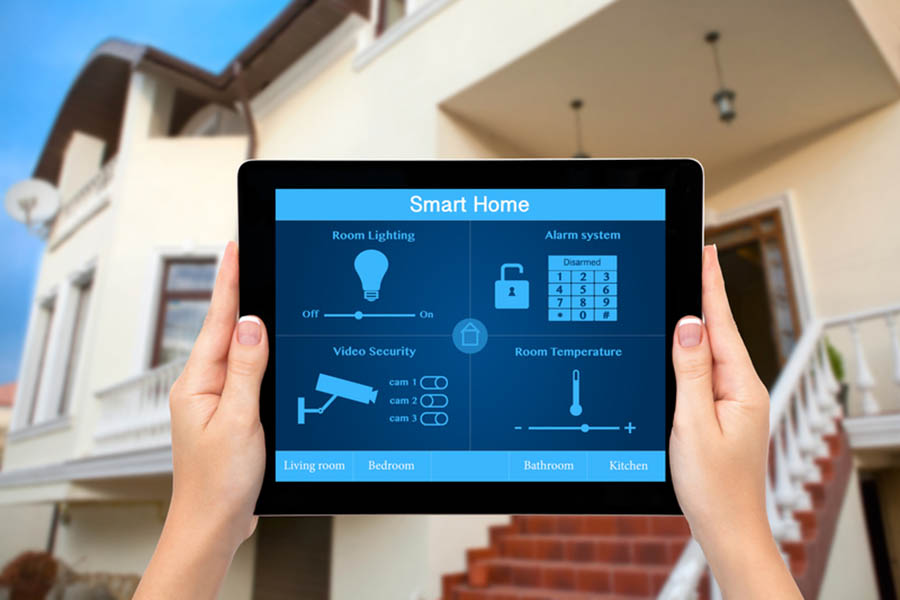 Monitoring a smart home from a tablet outside