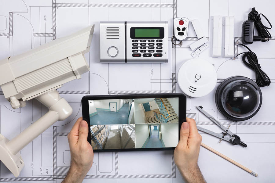 Home security system parts with a computer tablet