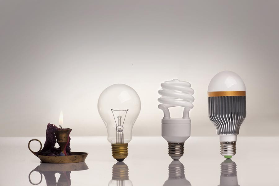 Different types of lighting from historic to modern LED lighting