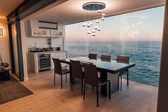 Dining room near the water with a view of the ocean