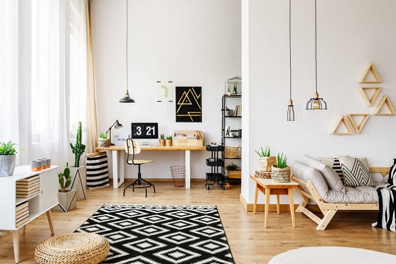 Scandinavian and modern interior design in a white room