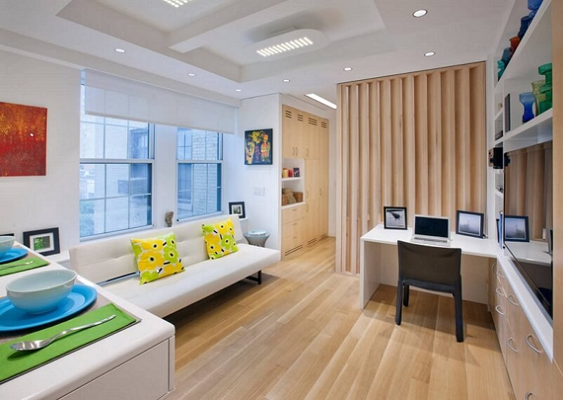 Bright office in an apartment