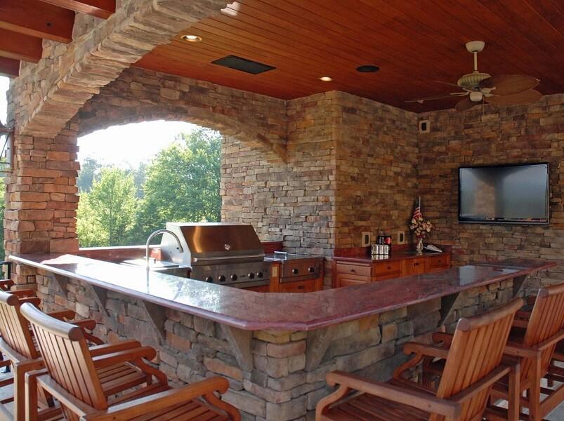 Hardwood seating area around kitchen bar
