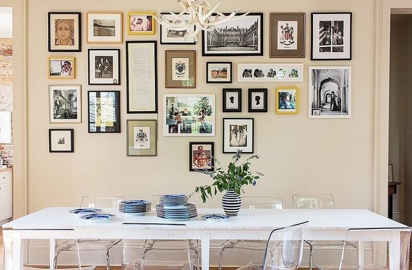Gallery wall above the kitchen table