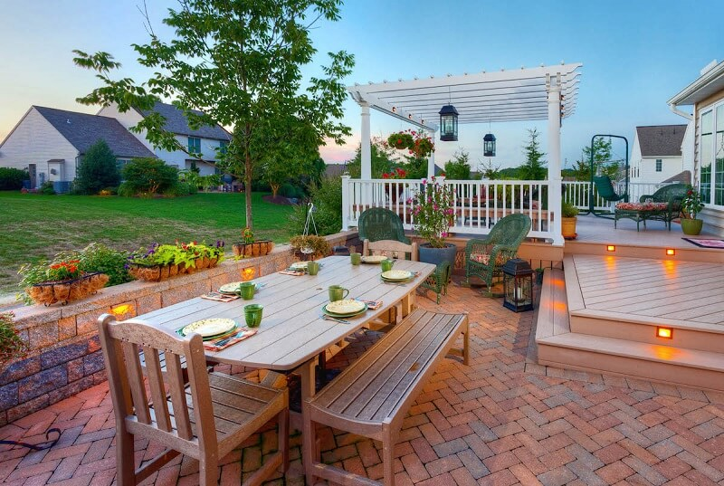 Extended deck to patio seating with a gazebo