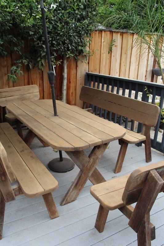 Wood bench seating in the backyard