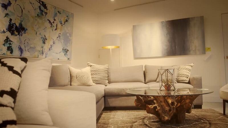 Fancy beige sofa in a modern room