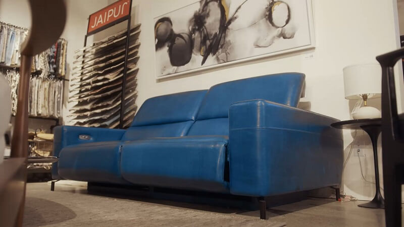 Dark blue old leather couch