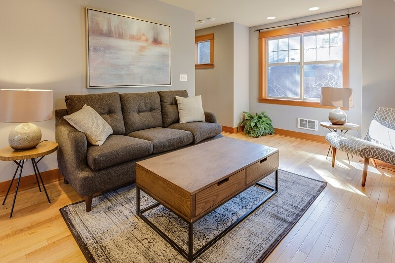 Cozy small apartment living room with small couch