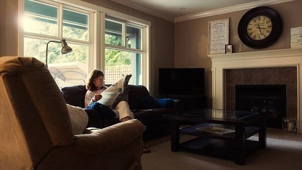 Women in a dark living room