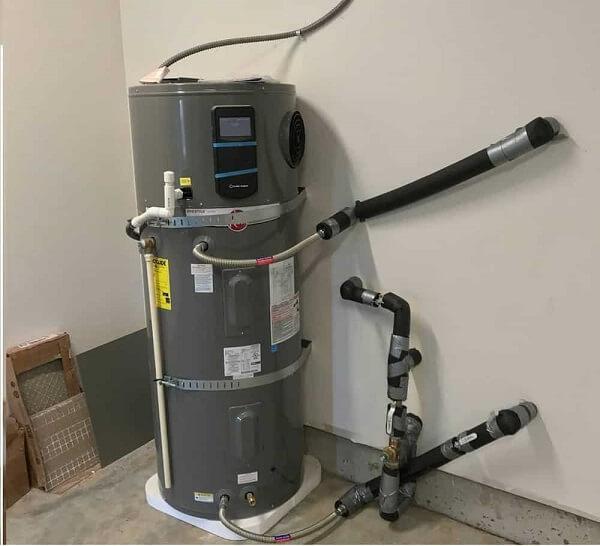 Heat pump water heater in a basement