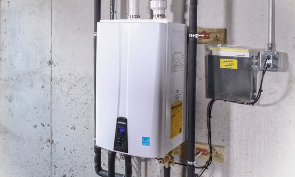 Tankless water heater in a basement