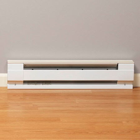 Electric baseboard heater against a wall
