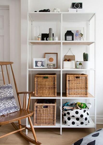 White and light shelfs with storage