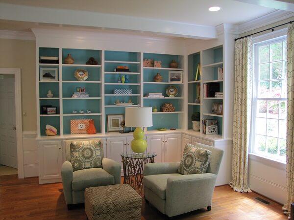 Large corner bookshelf in a house