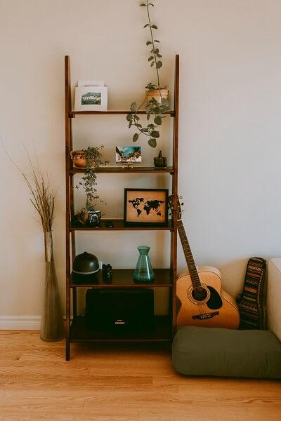 Beautiful hardwood shelf with guitar