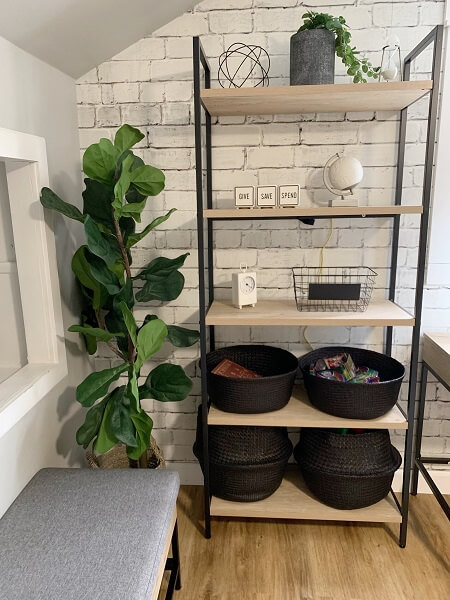 Boho chic style shelf and storage