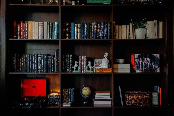 Dark and hardwood bookshelf ideas