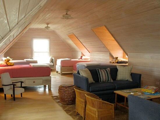 New attic bedroom with bright lights