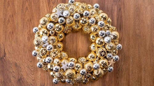 Shiny silver and gold ornament wreath