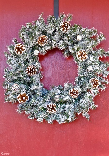 Classic Christmas wreath on a red door
