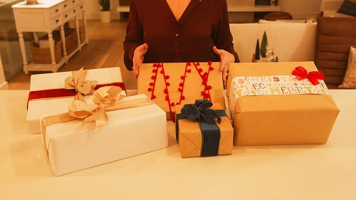 Paper and sustainable gift wrap for Christmas
