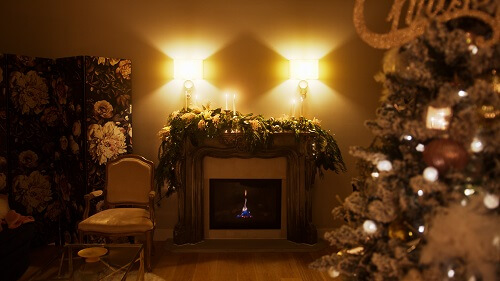 Large fireplace and homemade garland