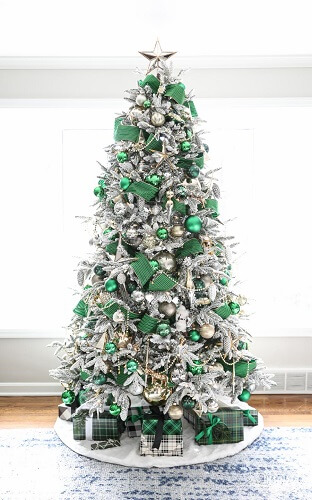 Fancy green, silver and white Christmas tree