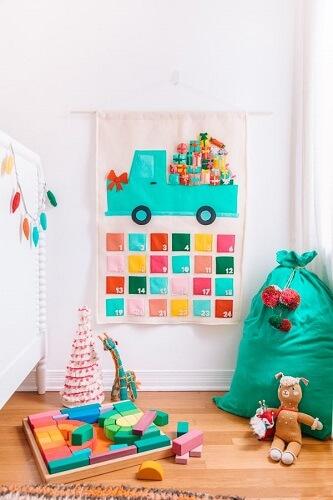 Colourful DIY Felt advent calendar in kids room