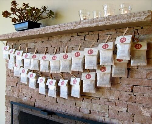 Bags of tree strung above the fireplace