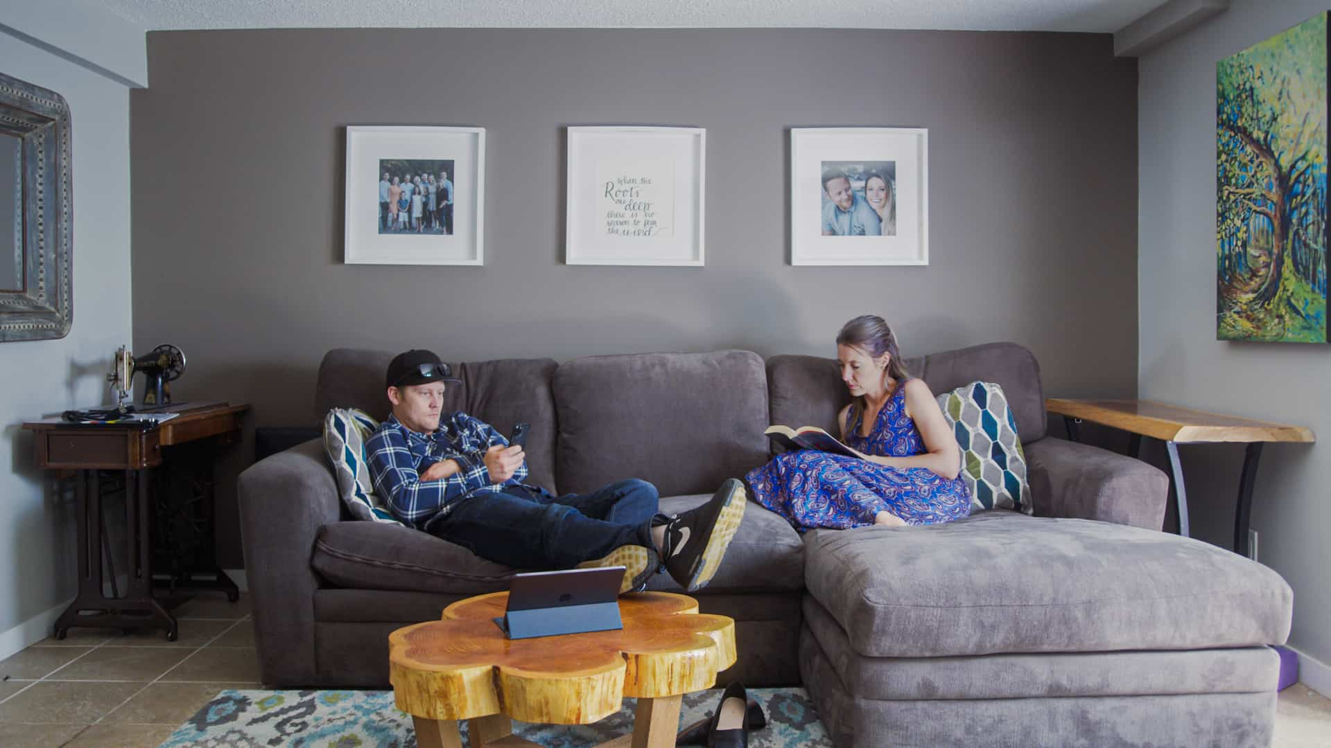 Kaela and Matthew in basement before makeover